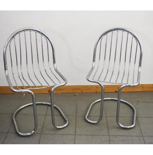 Coppia due sedie in metallo cromato design gastone rinaldi for Sedie vintage design