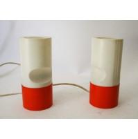 COPPIA LAMPADE ABAT JOUR TARGETTI SANKEY ORANGE VINTAGE DESIGN ANNI 70 PLASTIK