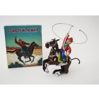 COWBOY WITH WHIP CAVALLO FAR WEST GIOCATTOLO IN LATTA VINTAGE REPRO MS 418