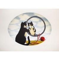 GIULIANO GIUGGIOLI Gatto con Gomitolo Litografia a colori firmata 25 es. P.A.