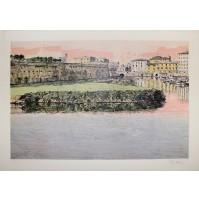 GIUSEPPE DIARIA - Paesaggio Fluviale - Litografia a colori 125 es.
