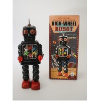 HIGH-WHEEL SPARKLING ROBOT SPACE AGE VINTAGE REPRO GIOCATTOLO IN LATTA BLACK