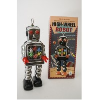 HIGH-WHEEL SPARKLING ROBOT SPACE AGE VINTAGE REPRO GIOCATTOLO IN LATTA SILVER