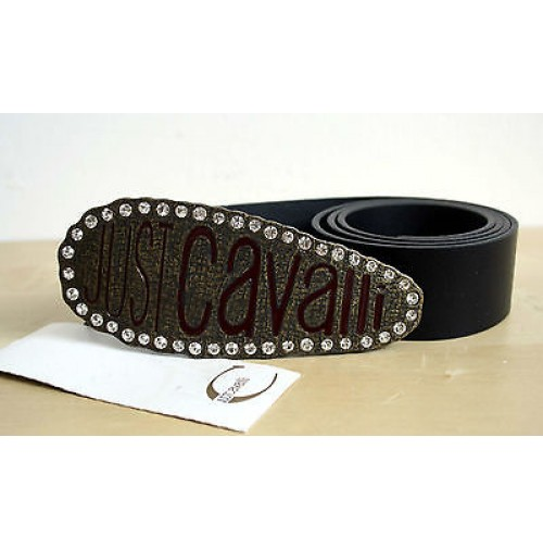 JUST CAVALLI CINTURA IN VERA PELLE NERO CON BRILLANTINI BELT ORIGINAL roberto