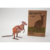 KANGAROO VINTAGE SPACE AGE REPRODUCTION GIOCATTOLO IN LATTA CANGURO CHE SALTA