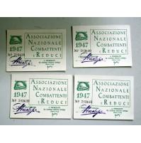 LOTTO 4 TESSERE ASSOCIAZIONE NAZIONALE COMBATTENTI E REDUCI 1947 CAMPOBASSO