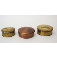 Lotto 2 scatole ottone Cassetti + scatola rame con sottobbicchieri vintage deco