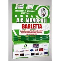 MONOPOLI BARLETTA MANIFESTO POSTER INCONTRO DI CALCIO 2008-09 locandina