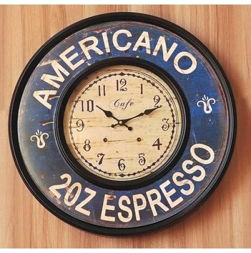 Orologio shabby chic american espresso 60 cm da muro clock for Orologio shabby chic