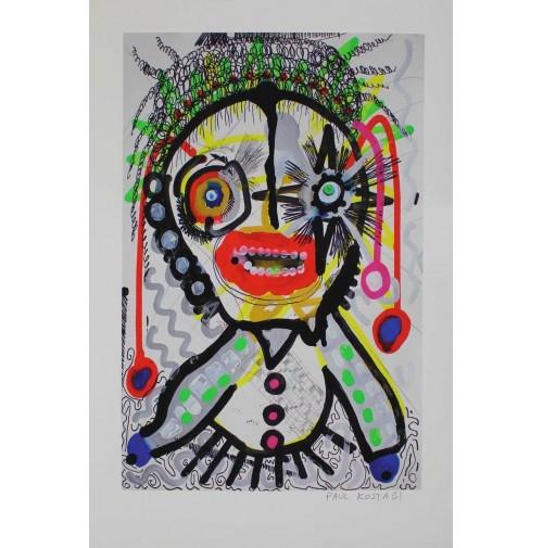 PAUL KOSTABI Raggathean 2016 Glicee Litografia su carta cotone firmato a mano