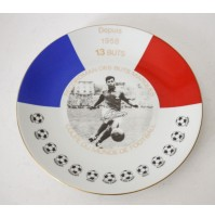 PIATTO IN CERAMICA JUST FONTAINE 1958 13 BUTS COPUE DU MONDE DE FOOTBALL LIMOGES