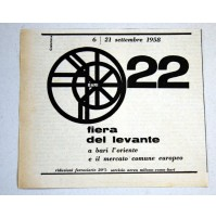 PUBBLICITA' 1958 6-21 settembre 22 FIERA DEL LEVANTE BARI  ritaglio giornale
