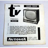 PUBBLICITA' 1958 TV AUTOVOX TM 640 ROMA VIA SALARIA 16,5X18 CM ritaglio giornale