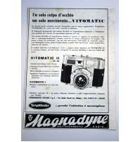 PUBBLICITA' 1958 VITOMATIC GEVAERT MILANO -RADIO MAGNADYNE ritaglio giornale