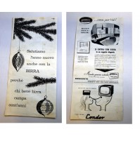 PUBBLICITA' 1958 bifacciale BIRRA -FORMICA LAMINATI MILANO -CONDOR  RITAGLIO