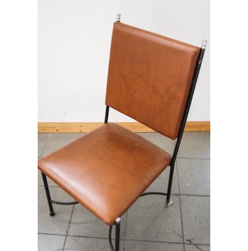 Sedia vintage anni 60 70 simil pelle e ferro design attr for Sedia design anni 40