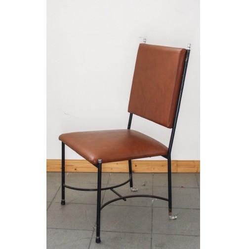 Sedia vintage anni 60 70 simil pelle e ferro design attr for Sedia design anni 70