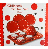 SET TIN TEA SERVIZIO DA THE DA BAMBINA IN LATTA CON VALIGETTA 15 PZ POIS VINTAGE