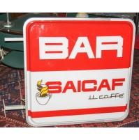 TABELLA INSEGNA A NEON BAR CAFFè SAICAF ENORME 100 CM ANNI 80 VINTAGE BIFACCIALE