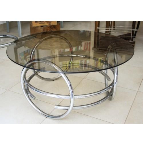 Tavolo Cristallo Design Anni 70.Tavolino In Metallo Cromato Vetro Vintage Design Side Table Anni 70 Space Age