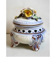 VASO CAPODIMONTE VINTAGE ANNI 60 CENTROTAVOLA CONTENITORE DISPENSER 50 ceramica