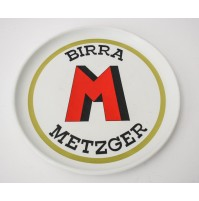 VASSOIO BIRRA METZGER TORINO  BAR PUBBLICITARIO VINTAGE ANNI 70 ROTONDO MEBEL